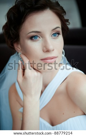 Portrait of the young beautiful bride - stock photo
