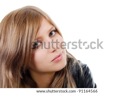 Portrait of the young beautiful girl isolated - stock photo