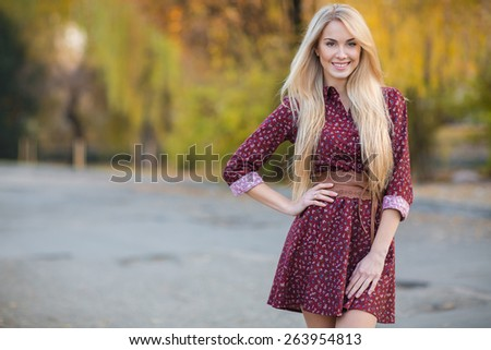 Portrait of the young beautiful smiling woman in dress outdoors - stock photo
