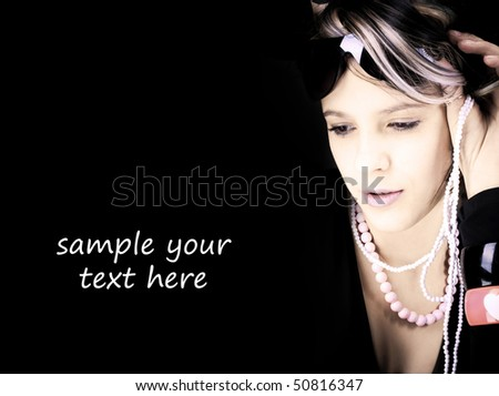 Portrait of the young beautiful woman - stock photo