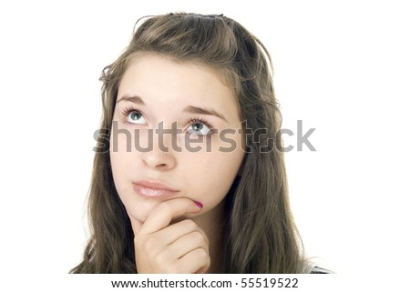 Portrait of the young girl on the isolated white background - stock photo