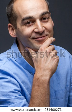 portrait of thinking confident business man close up - stock photo