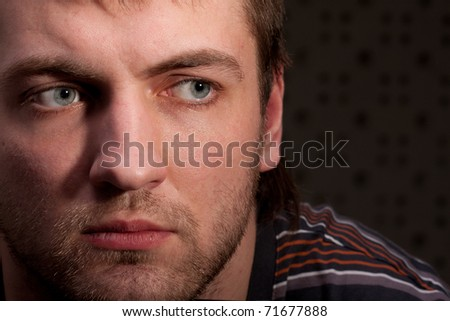 Portrait of thoughtful man. Close up view - stock photo