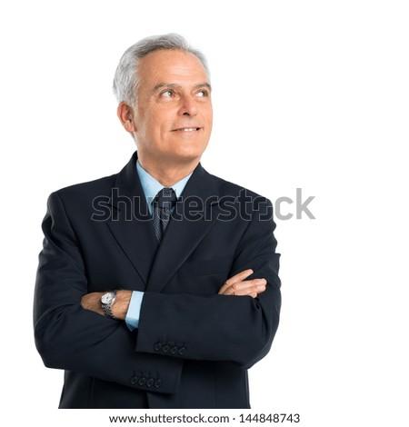 Portrait Of Thoughtful Senior Businessman Over White Background - stock photo