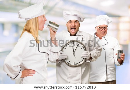 Portrait Of Three Distraught Chef's, Indoor - stock photo