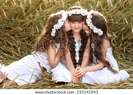 Portrait of three young girlfriends with a wreath - stock photo