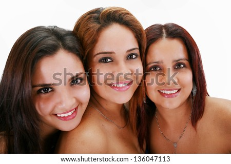 Portrait of three young women - stock photo