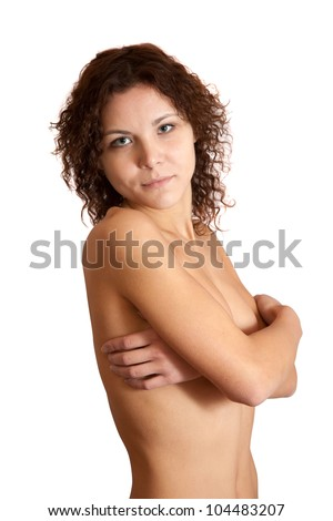 portrait of topless girl. Isolated on white background - stock photo