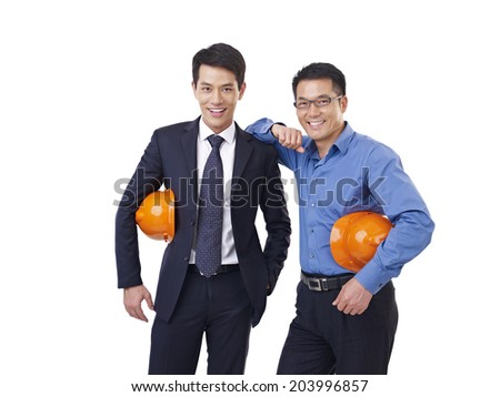 portrait of two asian men with orange safety hat, isolated on white. - stock photo