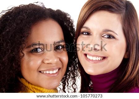 Portrait of two beautiful young women - stock photo