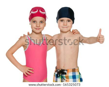 Portrait of two children in swimsuits on the white background - stock photo