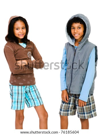 Portrait of two friends standing together isolated over white - stock photo
