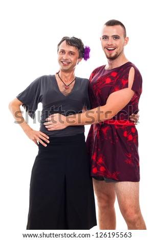 Portrait of two happy transvestites cross-dressing, isolated on white background. - stock photo