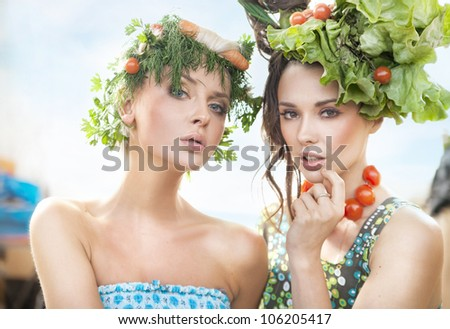 Portrait of two healthy ladies - stock photo