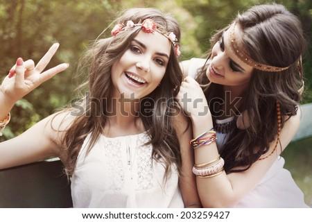 Portrait of two hippie women  - stock photo