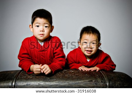 Portrait of two Korean Boys - stock photo