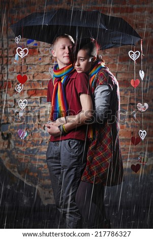 Portrait of two lesbian woman, in love couple. Love Concept. - stock photo