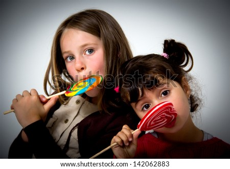 portrait of two little girls - stock photo