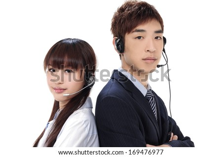 portrait of two online sales, help or support people on an helpdesk or call center. back to back - stock photo