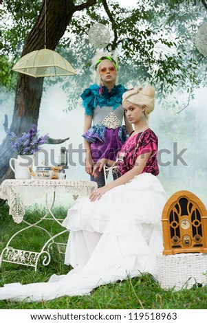 Portrait of two romantic women on a picnic in a fairy foggy forest. Outdoors. - stock photo