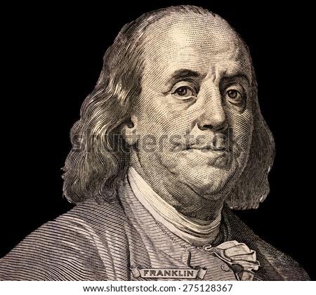 Portrait of  U.S. president Benjamin Franklin - stock photo