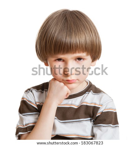 portrait of upset boy - stock photo