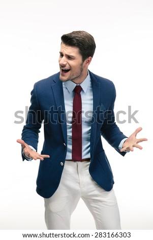 Portrait of upset businessman isolated on a white background - stock photo