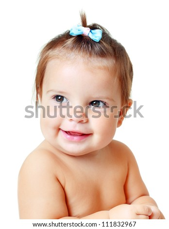 Portrait of very sweet little child 10 month old baby girl - stock photo