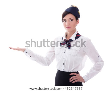 portrait of welcoming stewardess in uniform isolated on white background - stock photo
