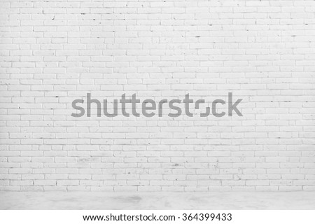 portrait of White brick wall for background or texture - stock photo