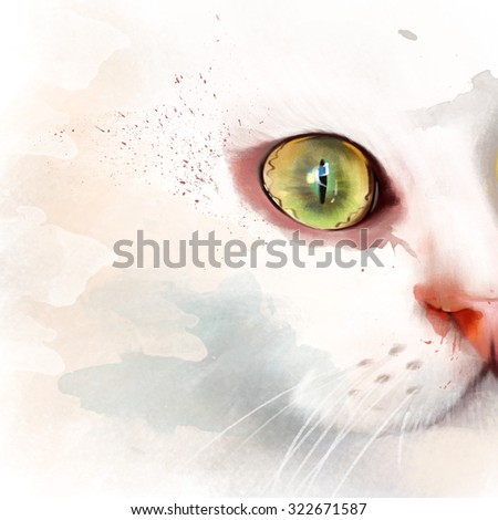 portrait of white cat isolated on white background, watercolor illustration - stock photo