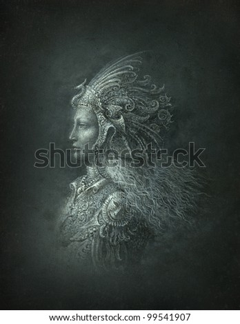 Portrait of woman in a surreal headdress - stock photo