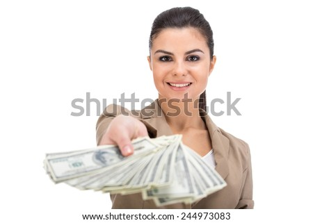Portrait of woman is holding in hand a lot american dollars, isolated on white background. - stock photo