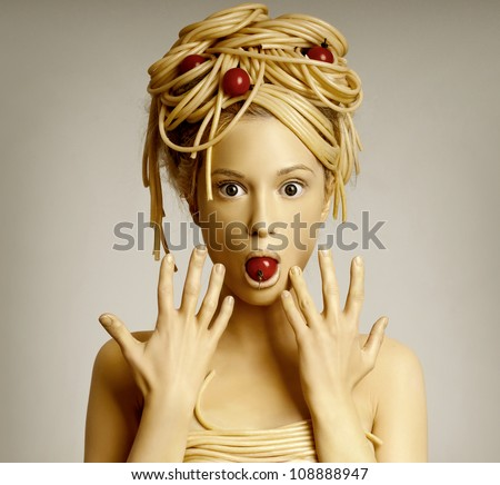 Portrait of woman model with professional makeup - stock photo