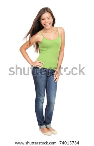 Portrait of woman standing isolated. Beautiful, casual sexy and fresh young mixed race Asian Caucasian female model standing isolated on white background in full body. - stock photo