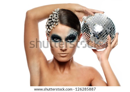 Portrait of woman with artistic make-up isolated over white background - stock photo