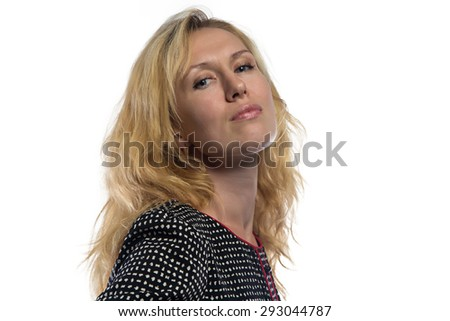 Portrait of woman with blond hair, chin up on white background - stock photo
