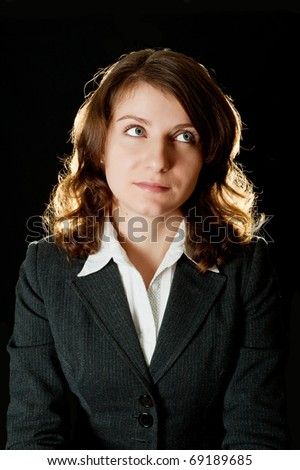 Portrait of women in business suit and white shirt - stock photo