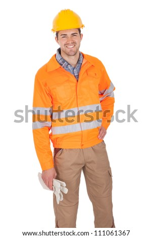 Portrait of worker wearing safety jacket. Isolated on white - stock photo