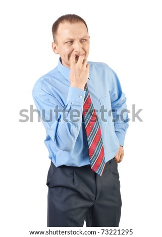 Portrait of worried businessman looking away and thinking, against white background - stock photo