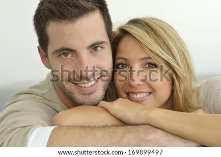Portrait of 30 year old couple - stock photo