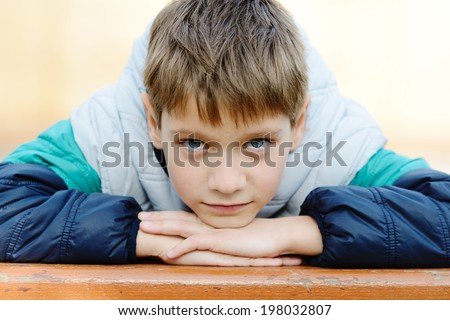 portrait of 8 years old boy  - stock photo