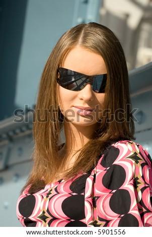Portrait of youg woman in sunglasses. - stock photo