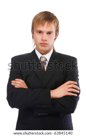portrait of youn blond man in black suit on white - stock photo
