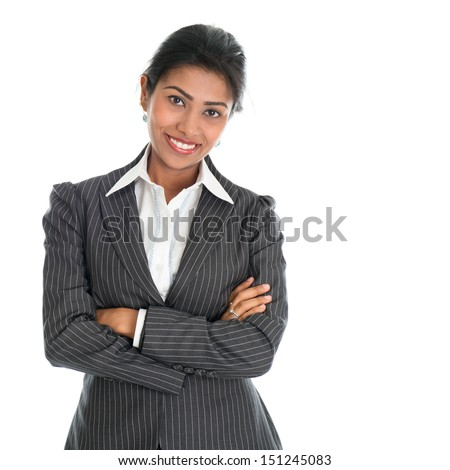 Portrait of young African American businesswoman in business suit, isolated over white background. Mixed race Asian Indian and African American model. - stock photo