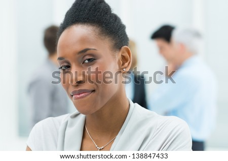 Portrait Of Young African American Businesswoman In Her Office - stock photo
