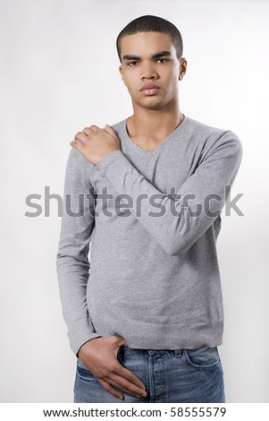 Portrait of young african man. - stock photo