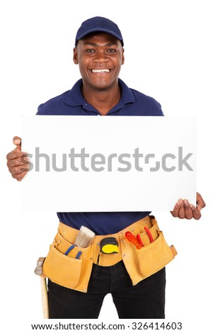 portrait of young afro american repairman presenting white board - stock photo