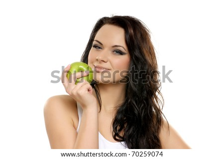Portrait of young and attractive woman over white - stock photo