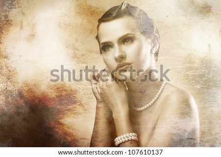Portrait of young and beautiful woman with old photo effect - stock photo